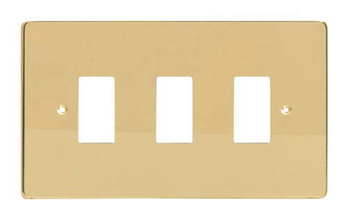 Varilight XDVPG3 PowerGrid Polished Brass 3 Gang Grid Plate (Twin Plate)